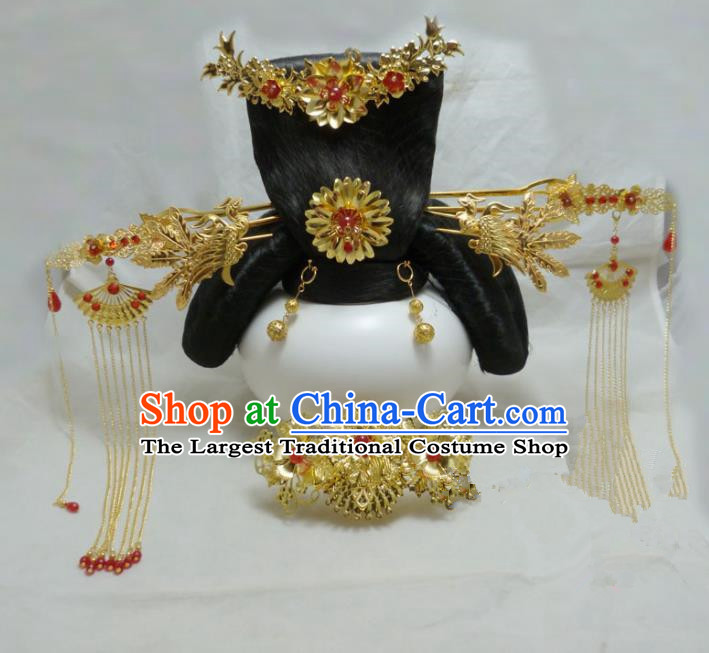 Chinese Ancient Hair Accessories Queen Golden Tassel Step Shake Traditional Palace Hairpins for Women