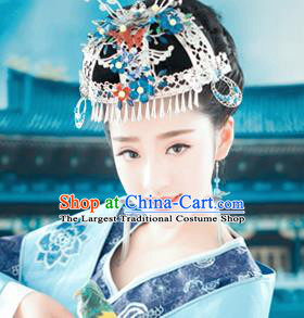 Chinese Ancient Queen Blueing Phoenix Coronet Hair Accessories Traditional Palace Hairpins for Women