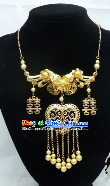 Chinese Ancient Bride Hanfu Accessories Traditional Palace Golden Butterfly Necklace for Women