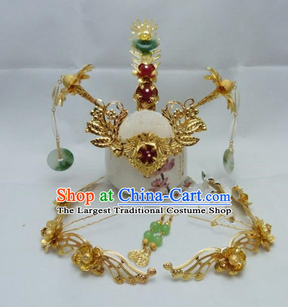 Chinese Ancient Han Dynasty Queen Hair Accessories Traditional Palace Phoenix Coronet Hairpins for Women