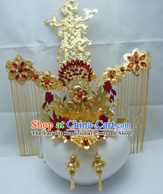 Chinese Traditional Palace Hairpins Ancient Han Dynasty Queen Red Phoenix Coronet Hair Accessories for Women