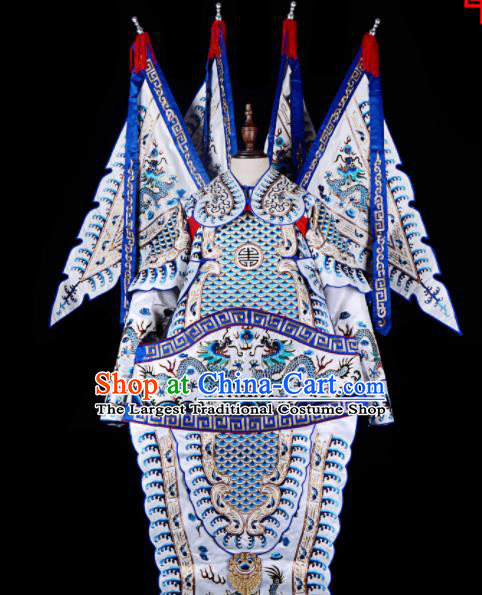 Professional Chinese Beijing Opera Costume Traditional Peking Opera General White Clothing for Adults