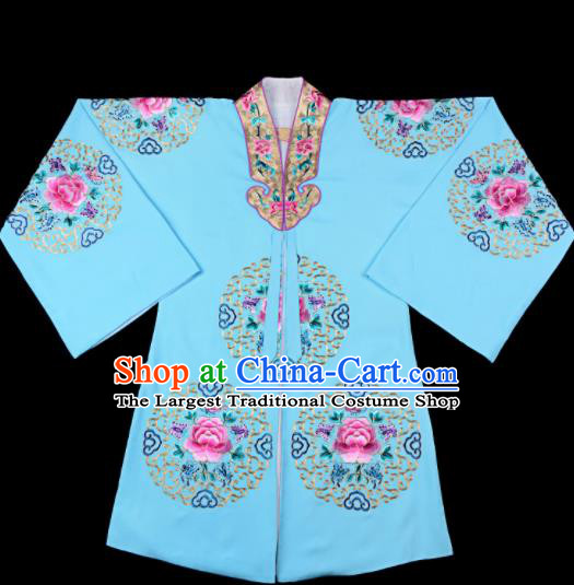 Professional Chinese Traditional Beijing Opera Costume Peking Opera Aristocratic Lady Blue Cloak for Adults