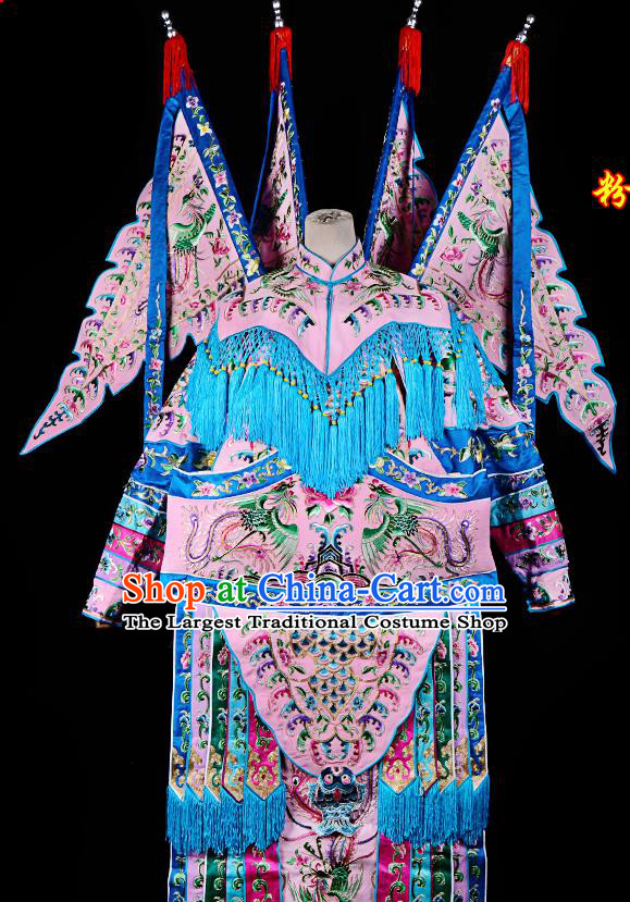 Professional Chinese Traditional Beijing Opera Female General Light Pink Costume for Adults
