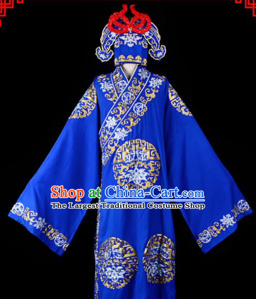 Professional Chinese Beijing Opera Costume Traditional Peking Opera Scholar Royalblue Robe and Hat for Adults