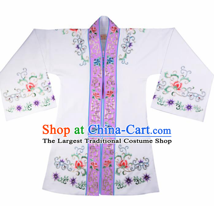 Professional Chinese Traditional Beijing Opera Actress Costume Princess White Cloak for Adults