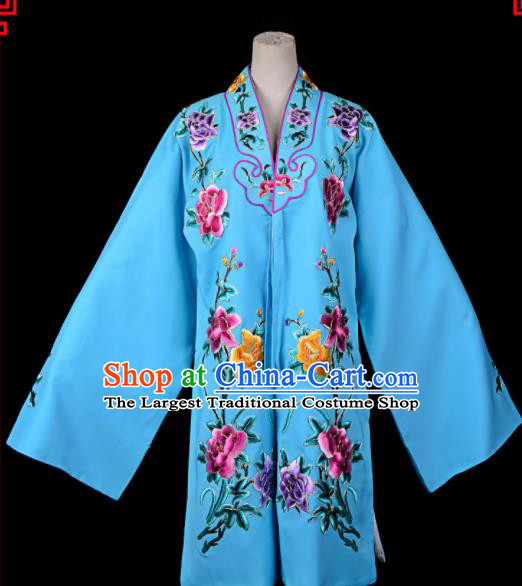 Professional Chinese Traditional Beijing Opera Princess Costume Embroidered Blue Dress for Adults
