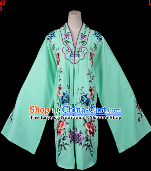 Professional Chinese Traditional Beijing Opera Princess Costume Embroidered Green Dress for Adults