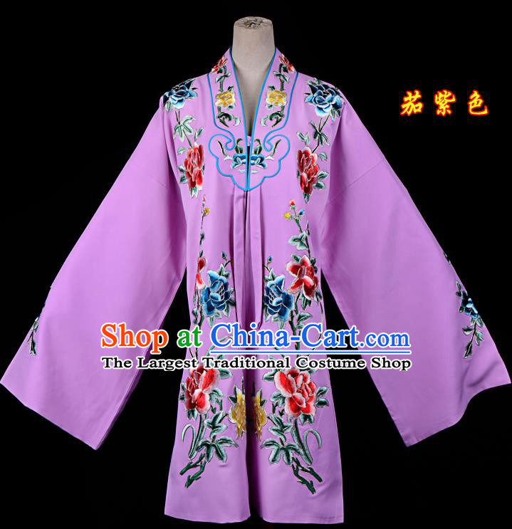 Professional Chinese Traditional Beijing Opera Princess Costume Embroidered Purple Dress for Adults