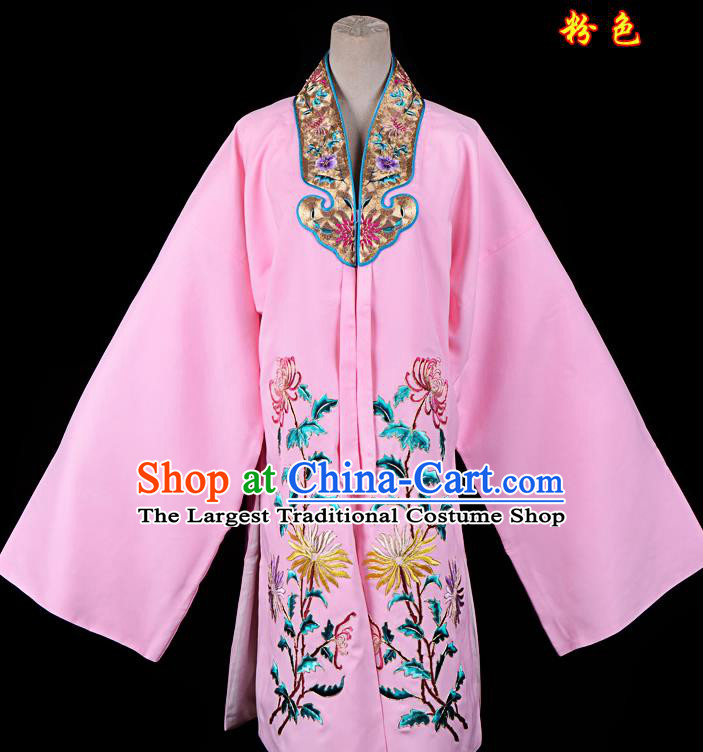 Professional Chinese Traditional Beijing Opera Princess Costume Embroidered Chrysanthemum Pink Dress for Adults
