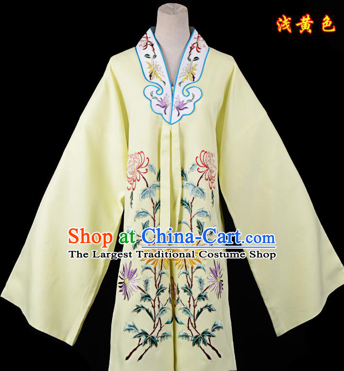 Professional Chinese Traditional Beijing Opera Princess Costume Embroidered Chrysanthemum Yellow Dress for Adults