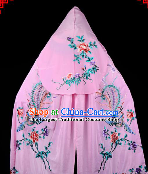 Professional Chinese Traditional Beijing Opera Swordswomen Costume Embroidered Pink Cloak for Adults