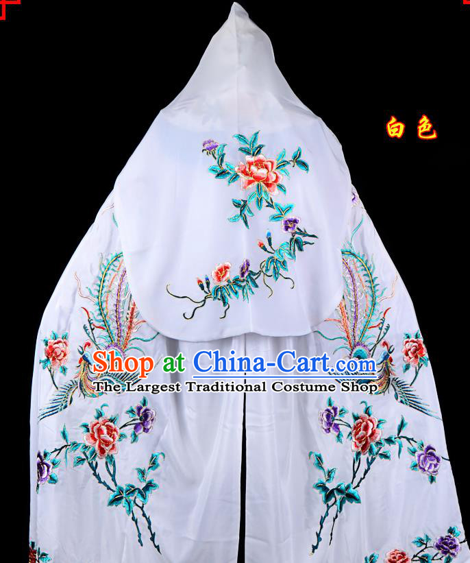 Professional Chinese Traditional Beijing Opera Swordswomen Costume Embroidered White Cloak for Adults