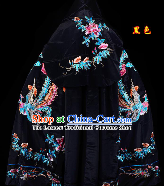 Professional Chinese Traditional Beijing Opera Swordswomen Costume Embroidered Black Cloak for Adults