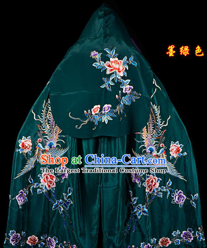 Professional Chinese Traditional Beijing Opera Swordswomen Costume Embroidered Atrovirens Cloak for Adults