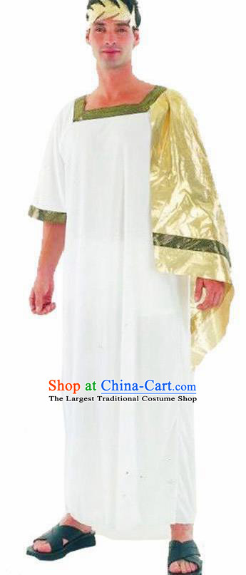 Traditional Greece Costume Ancient Greek Prince White Clothing for Men
