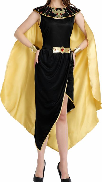 Traditional Egypt Queen Costume Ancient Egypt Garment Black Dress for Women