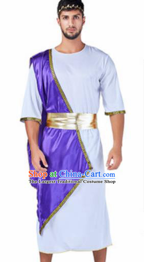 Traditional Greece Prince Costume Ancient Greek Warrior Purple Clothing for Men