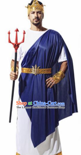 Traditional Greece Prince Costume Ancient Greek Warrior Navy Blue Clothing for Men