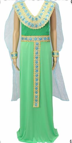 Traditional Egypt Priestess Costume Ancient Egypt Queen Green Dress for Women