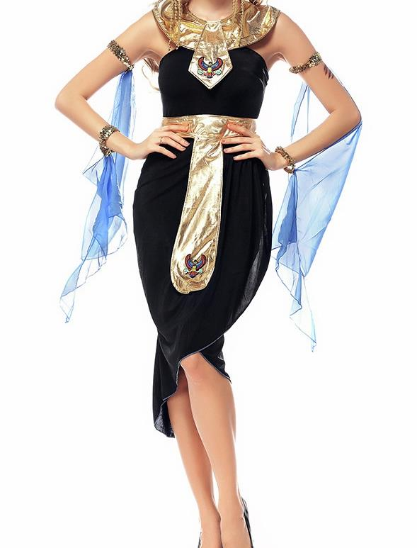 Traditional Egypt Priestess Costume Ancient Egypt Queen Black Dress for Women