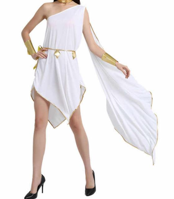 Traditional Egypt Priestess Costume Ancient Egypt Queen White Dress for Women