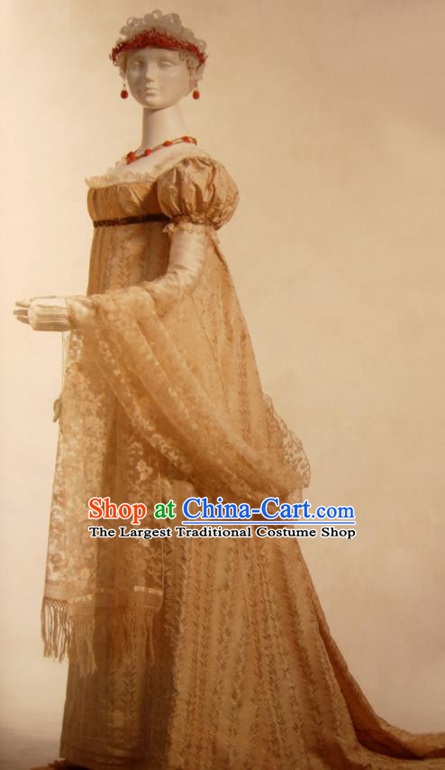 Traditional Greek Goddess Costume Ancient Greek Queen Golden Dress for Women