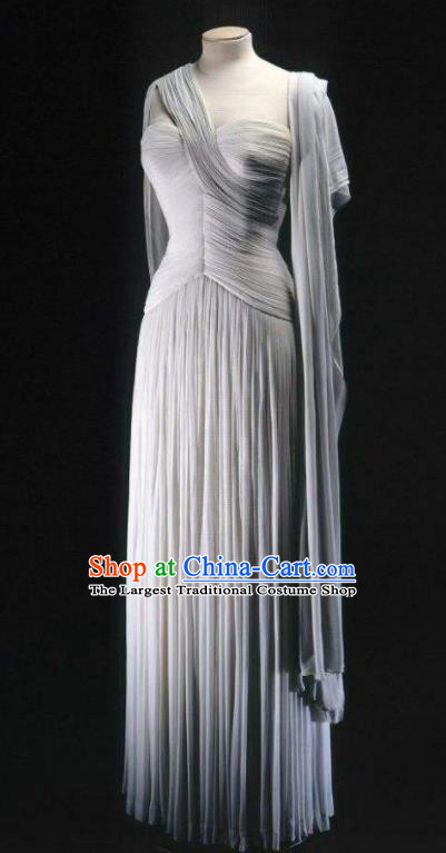 Traditional Greek Goddess Costume Ancient Greek Queen Grey Dress for Women