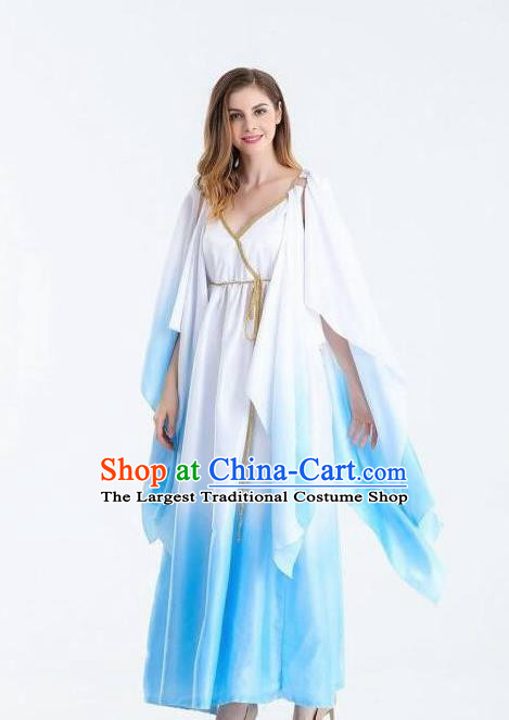 Traditional Greek Goddess Costume Ancient Greek Queen Blue Dress for Women