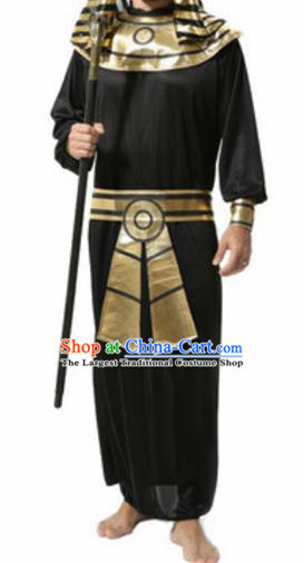 Traditional Egypt King Costume Ancient Egypt Priest Black Clothing for Men