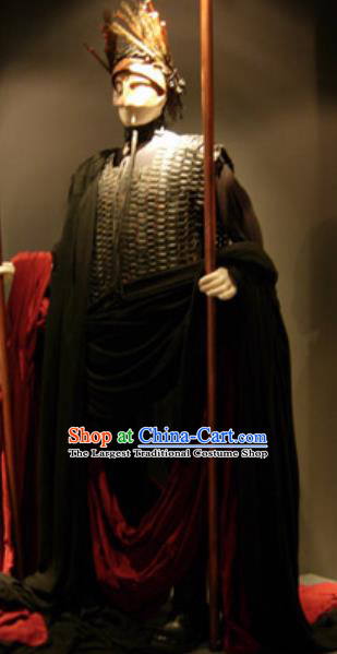 Traditional Greek Presbyter Costume Ancient Greek Warrior Black Clothing for Men