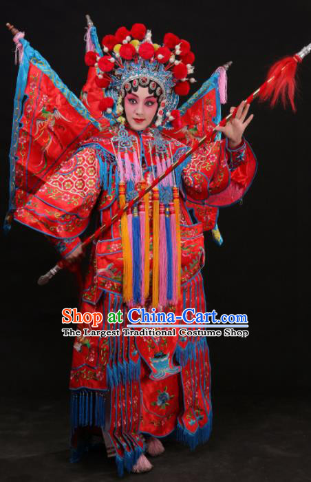 Professional Chinese Traditional Beijing Opera Costume Female General Embroidered Red Clothing for Adults