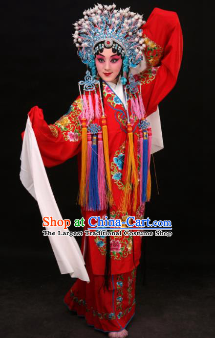 Professional Chinese Traditional Beijing Opera Costume Princess Embroidered Red Dress for Adults