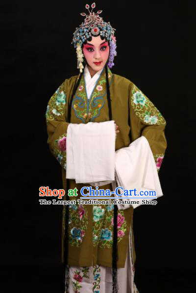 Professional Chinese Traditional Beijing Opera Costume Old Women Embroidered Green Dress for Adults