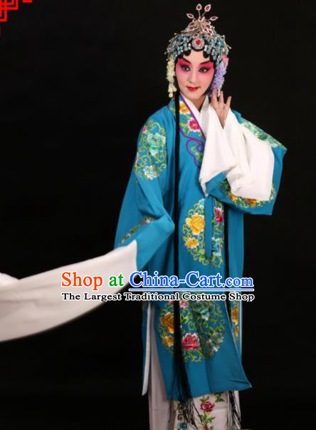 Professional Chinese Traditional Beijing Opera Costume Old Women Embroidered Blue Dress for Adults