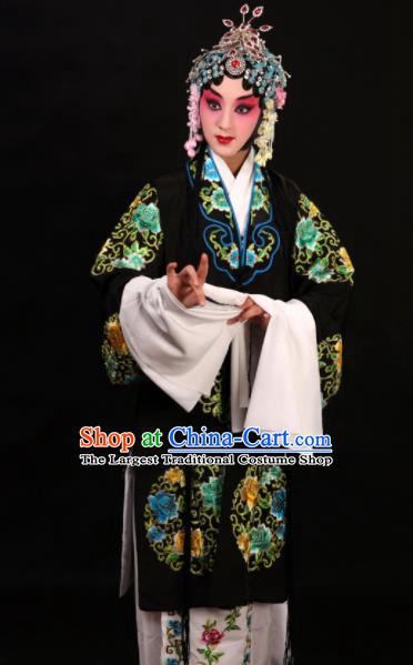 Professional Chinese Traditional Beijing Opera Costume Old Women Embroidered Black Dress for Adults