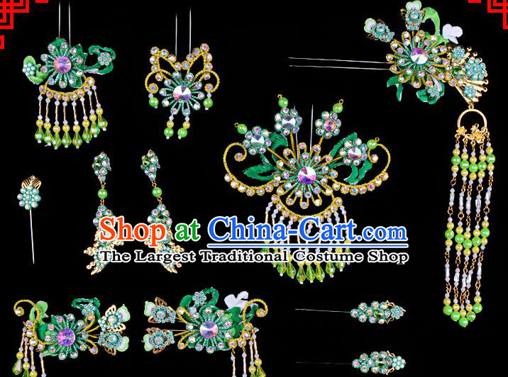 Chinese Beijing Opera Hair Accessories Ancient Princess Green Hairpins Headwear for Women
