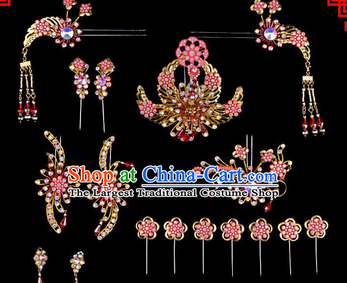 Professional Chinese Beijing Opera Hair Accessories Ancient Princess Red Hairpins Headwear for Women