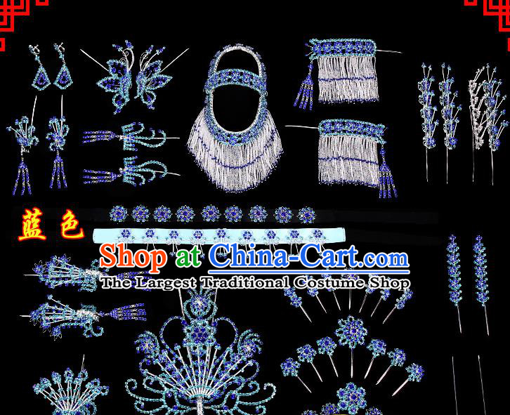 Chinese Beijing Opera Diva Hair Accessories Ancient Princess Blue Hairpins Complete Set for Women