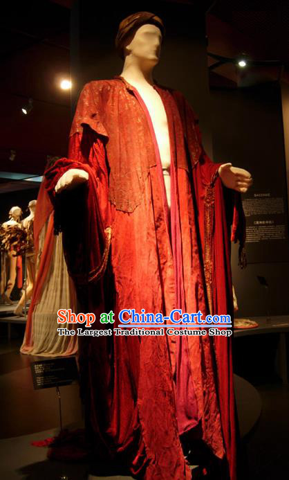 Traditional Greek Presbyter Costume Ancient Greek Male Clothing Red Chitons for Men