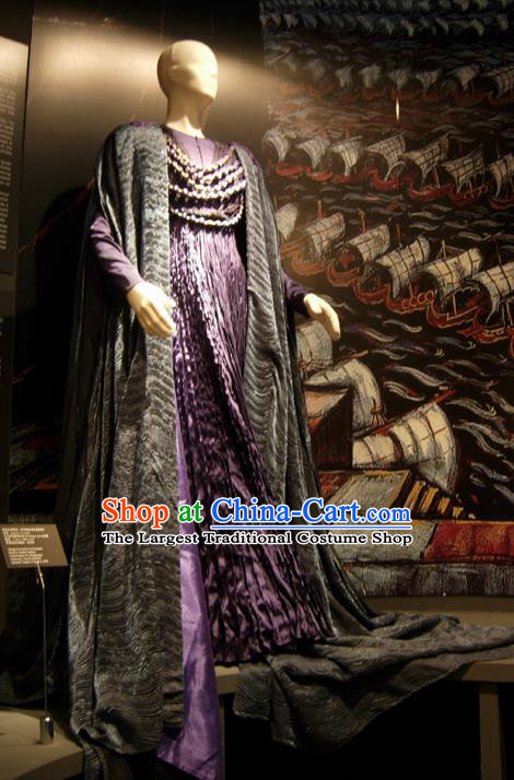 Traditional Greek Stage Performance Costume Ancient Greek Peplos Purple Dress for Women