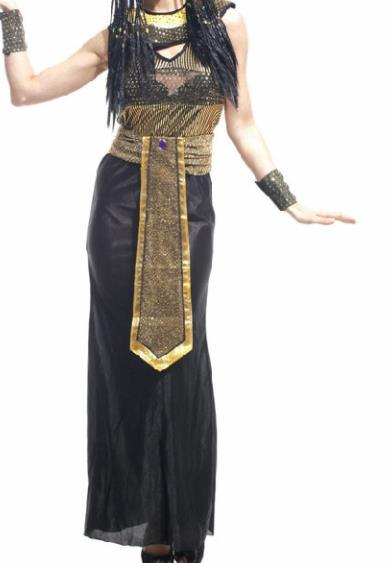 Traditional Egypt Stage Performance Costume Ancient Egypt Queen Black Dress for Women