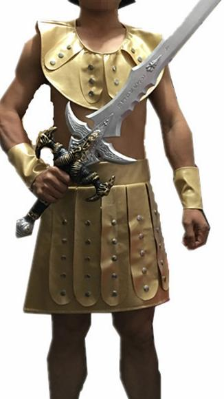 Traditional Roman Warrior Costume Ancient Rome General Brown Tunics Clothing for Men