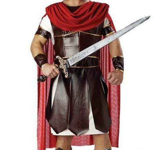 Traditional Roman Male Costume Ancient Rome Warrior Brown Tunics Clothing for Men