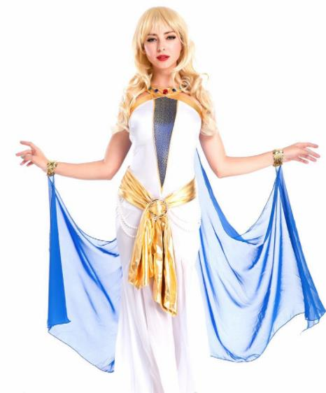 Traditional Egypt Priestess Costume Ancient Egypt Queen Veil Dress for Women