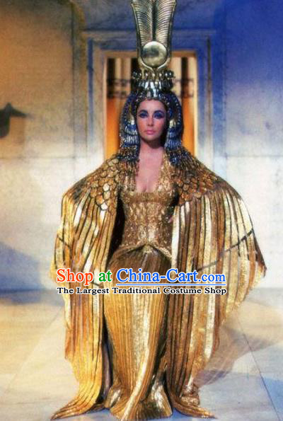 Traditional Egypt Priestess Costume Ancient Egypt Queen Golden Dress and Headdress for Women