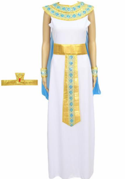 Traditional Egypt Priestess Costume Ancient Egypt Queen White Dress with Cloak for Women