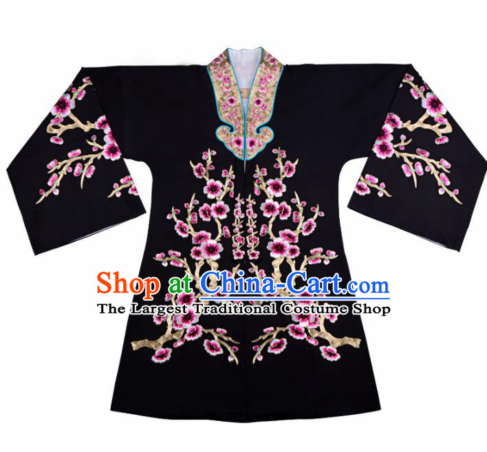 Professional Chinese Traditional Beijing Opera Young Lady Costume Black Plum Blossom Cloak for Adults