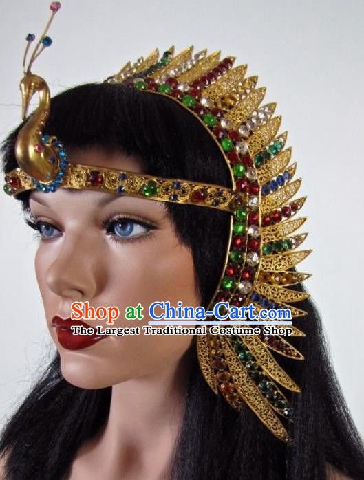 Traditional Egyptian Queen Hair Accessories Ancient Egypt Peacock Gem Hair Crown for Women