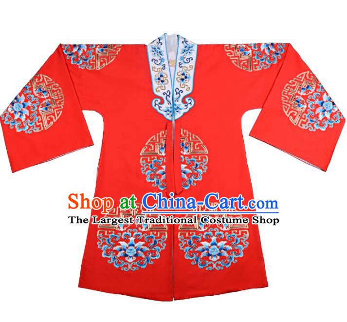 Professional Chinese Traditional Beijing Opera Diva Costume Embroidered Red Cloak for Adults